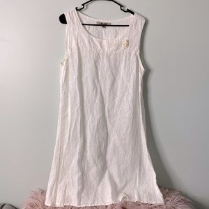 Flax White Linen Dress Small